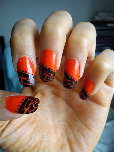 Orange With Black Crackle Nail Art Design