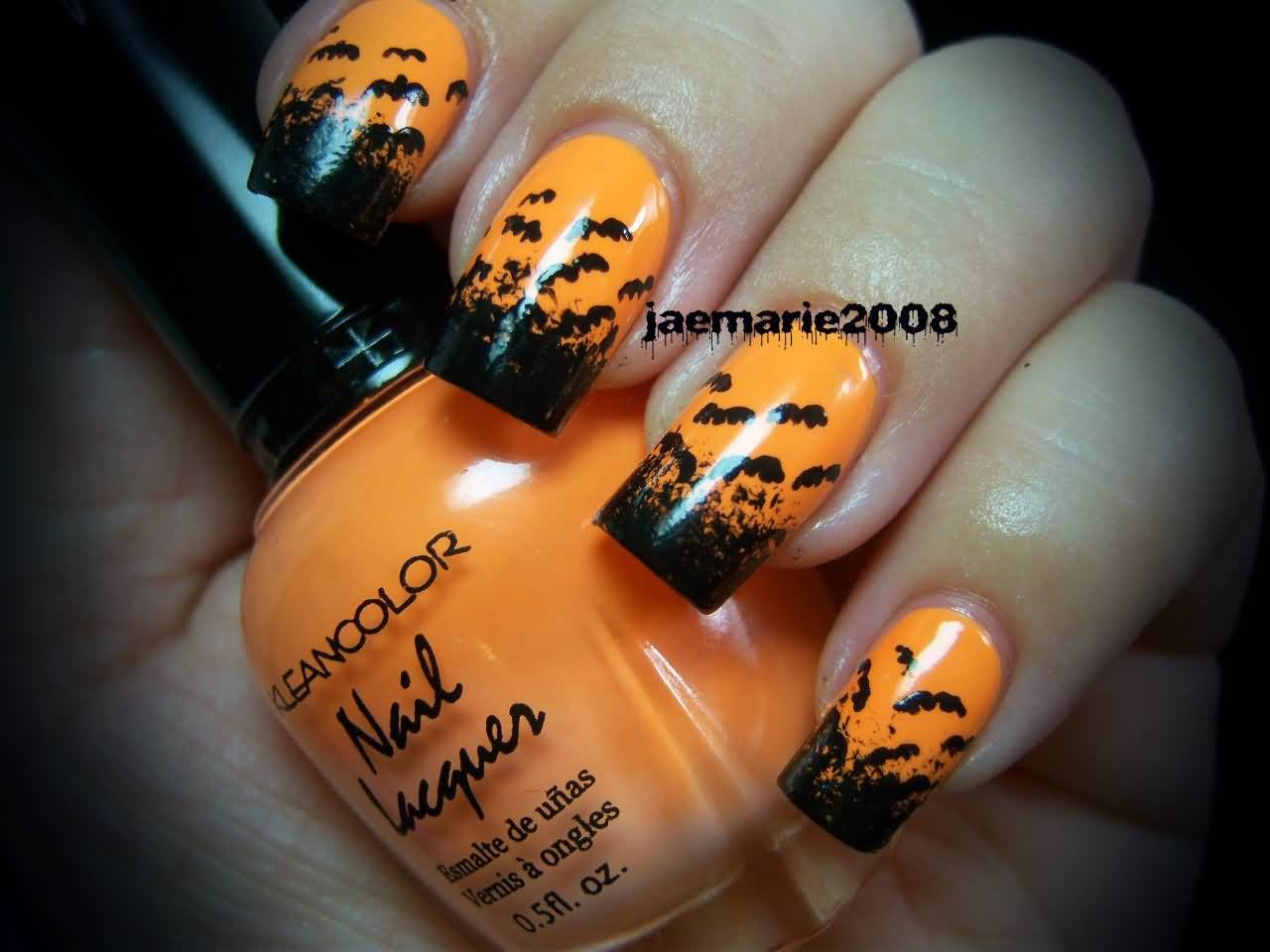 Orange With Black Flying Bats Nail Art