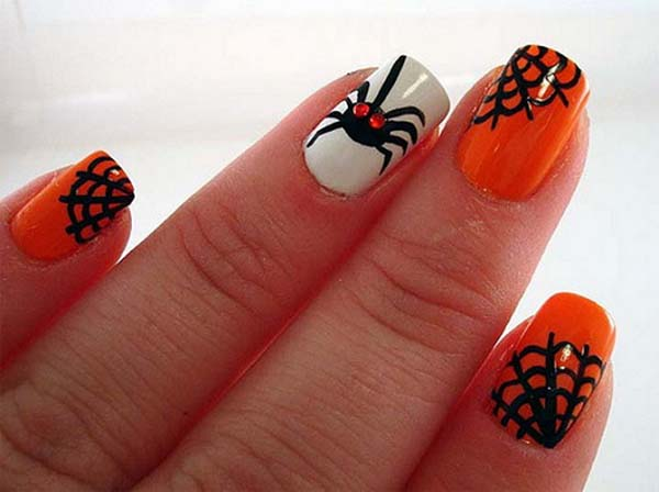 Orange With Black Spider And Web Design Nail Art