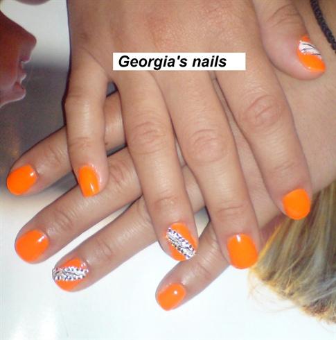 Orange With Rhinestones Design Nail Art