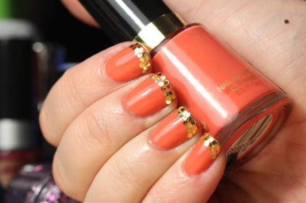 Orange Nails With Gold Glitter Dots Tip Design Nail Art