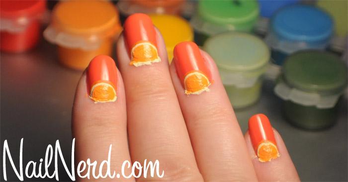 Painting Orange Wedge Nail Art