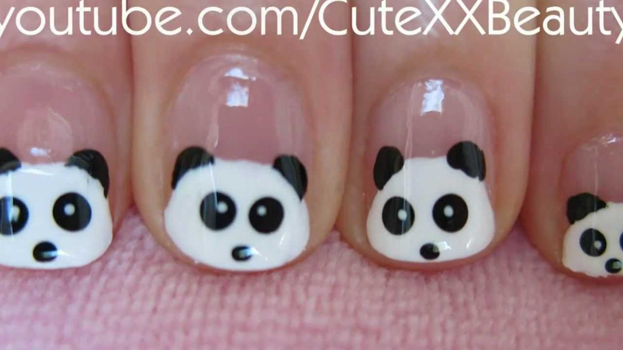 Panda Face Short Nail Art With Tutorial Video