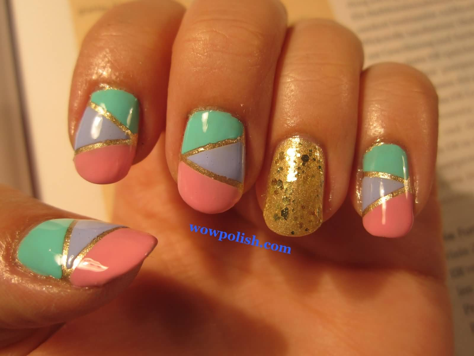 21 most beautiful striping tape nail art ideas for trendy girls pastel color nails with gold striping tape nail art prinsesfo Images