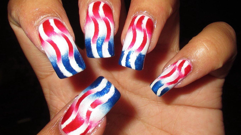 Patriotic Reciprocal Gradient Nail Art Tutorial Video