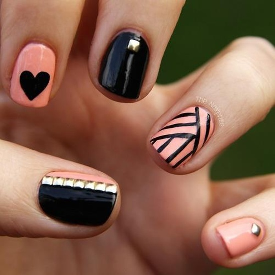 Peach and black nail art for short nails prinsesfo Images
