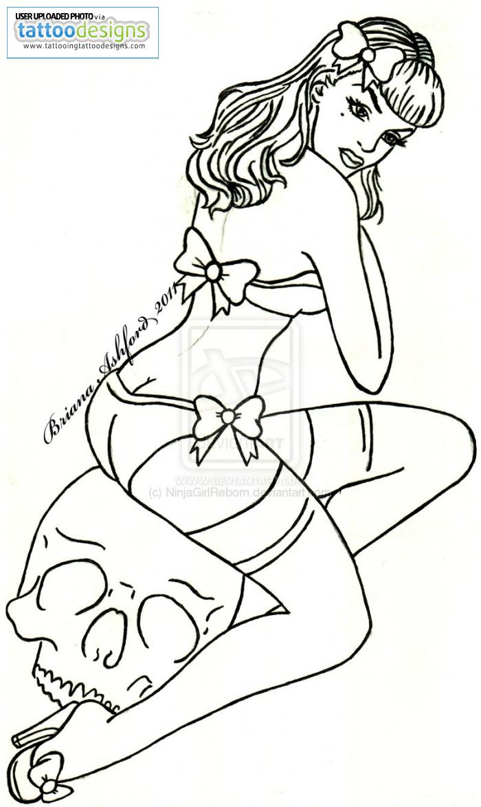 Tattoo pin up girls designs - Pin Up Girl With Skull Tattoo Design
