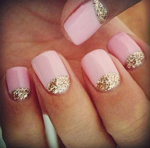 50 stylish acrylic short nail design ideas pink acrylic short nails with gold glitter half moon reverse french nail art prinsesfo Images