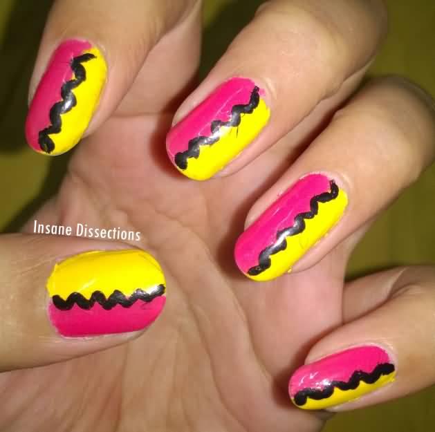 55+ Most Stylish Yellow And Pink Nail Art Design Ideas