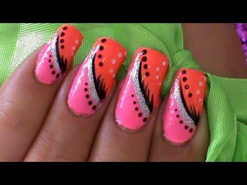 Pink And Orange Abstract Nail Art