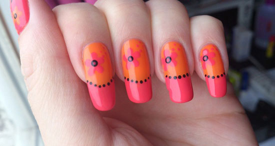 Pink And Orange Flowers Nail Art