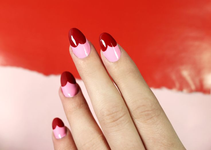 Pink And Red Heart Tip Nail Art