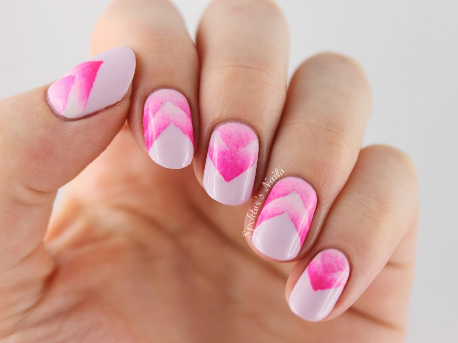 50 most beautiful gradient nail art design ideas pink and white chevron design gradient nail art prinsesfo Choice Image