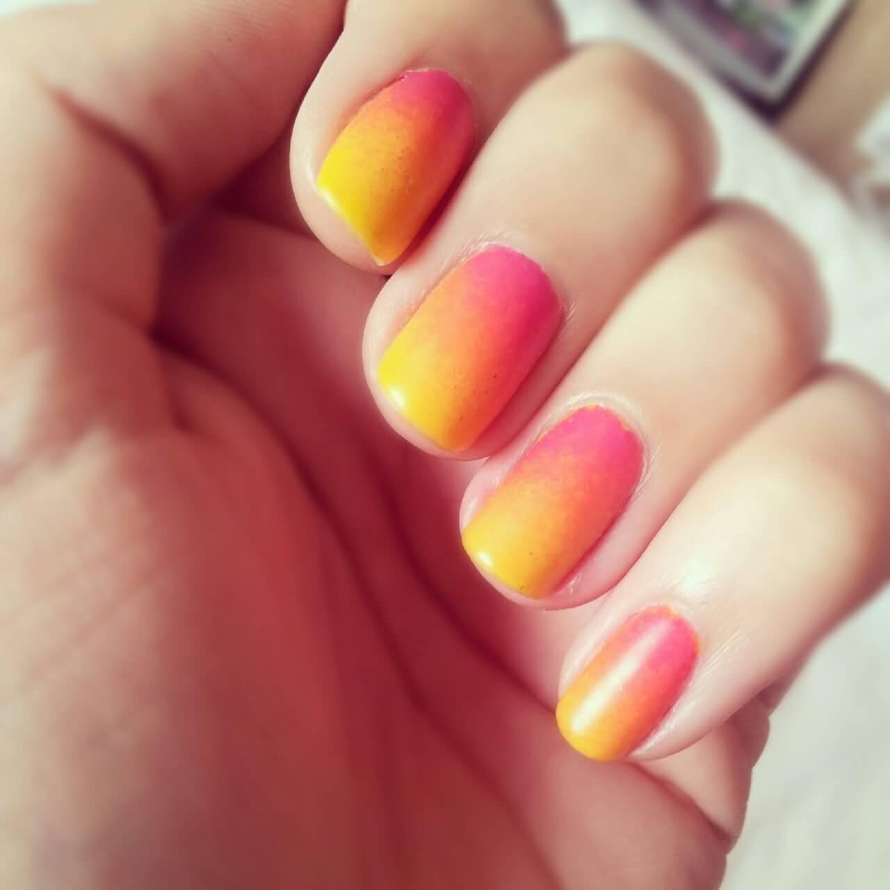 Bright Yellow Almond Nail Art