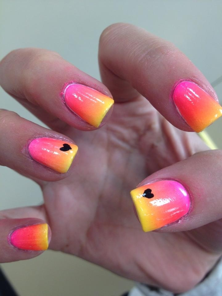 55 most stylish yellow and pink nail art design ideas pink and yellow nails with black hearts design nail art prinsesfo Gallery