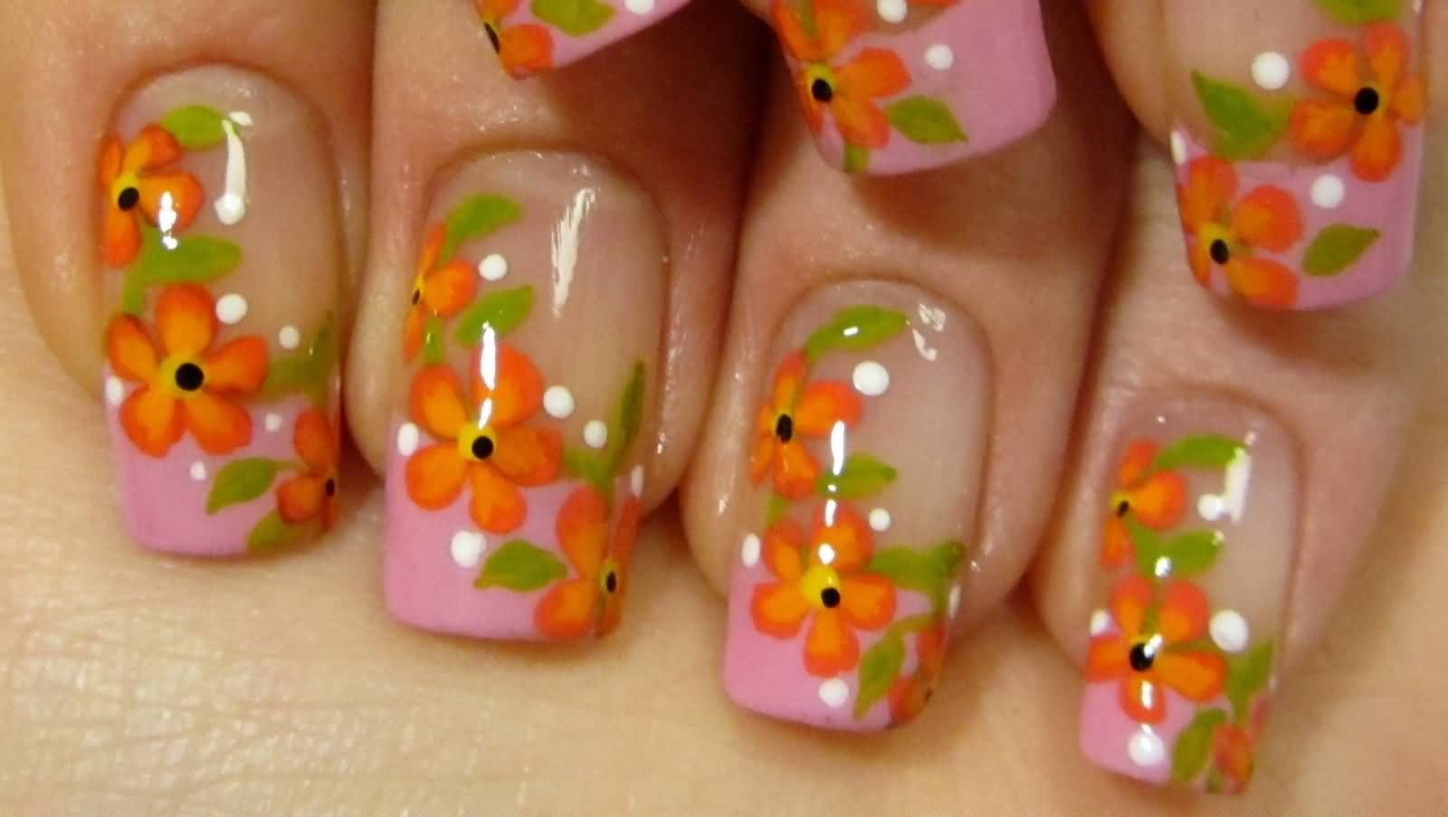 Pink French Tip With Red And Orange Flowers Vine Design Nail Art