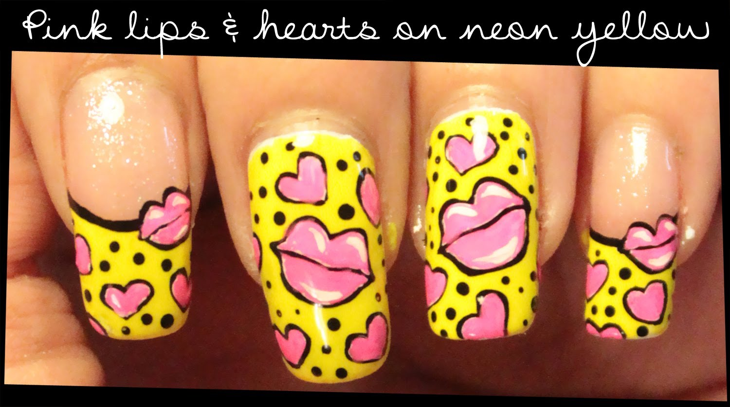 Pink Lips Hearts On Neon Yellow Nail Art Tutorial Video