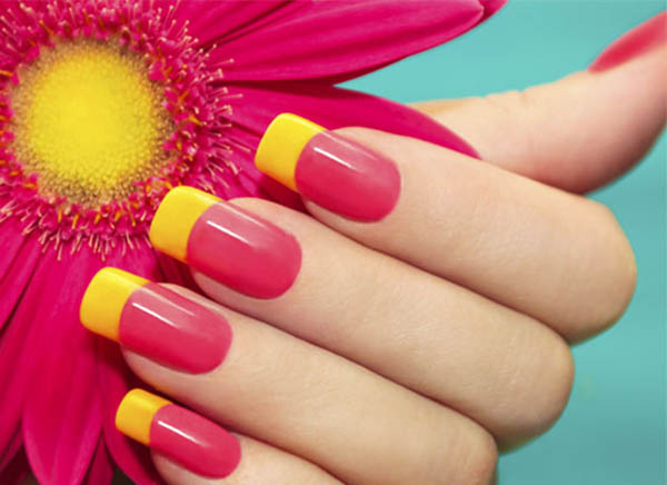 Pink Nails With Yellow Tip Nail Art Design Idea