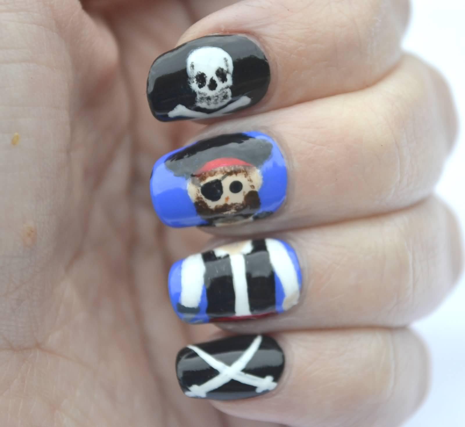 Pirate And Skull Nail Art Design Idea