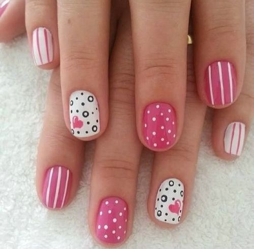 50 most stylish short nail art design ideas polka dots and stripes design nail art for short nails prinsesfo Gallery