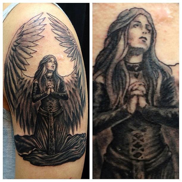 26+ Praying Angel Tattoos On Half Sleeve