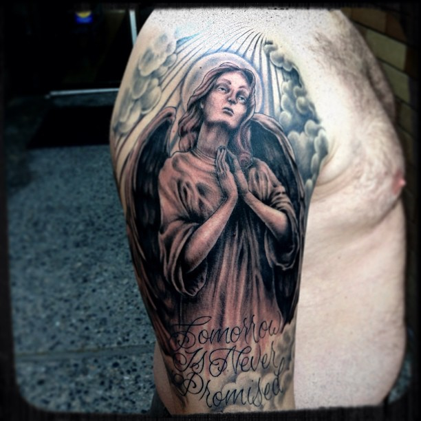 Tattoo Cover Up Quotes: 26+ Praying Angel Tattoos On Half Sleeve
