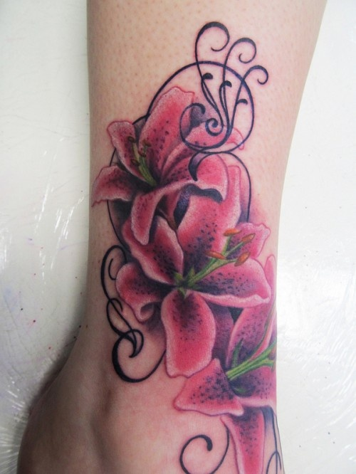 pretty gladiolus tattoo on ankle. Black Bedroom Furniture Sets. Home Design Ideas