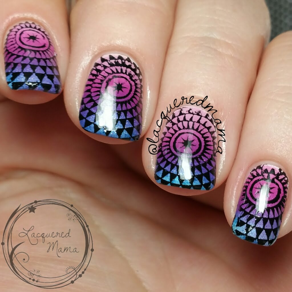 Purple And Blue Gradient With Stamping Nail Art With Tutorial Video