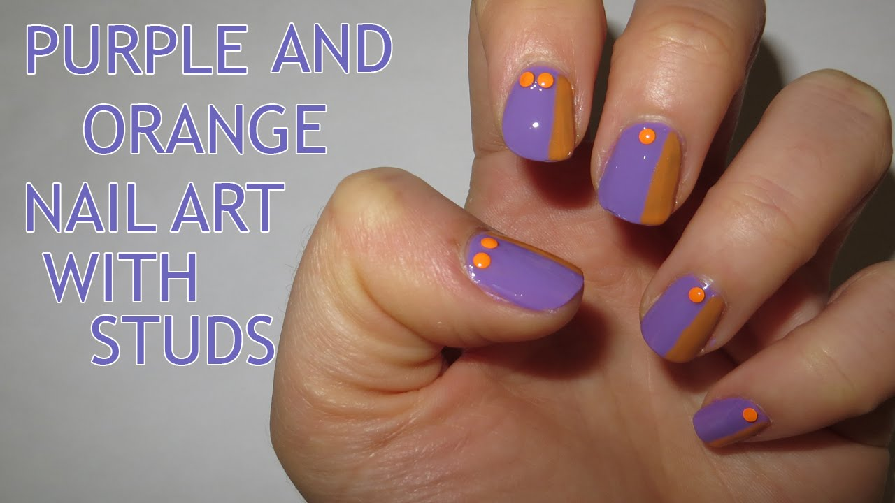 Purple And Orange Nail Art With Studs Tutorial Video