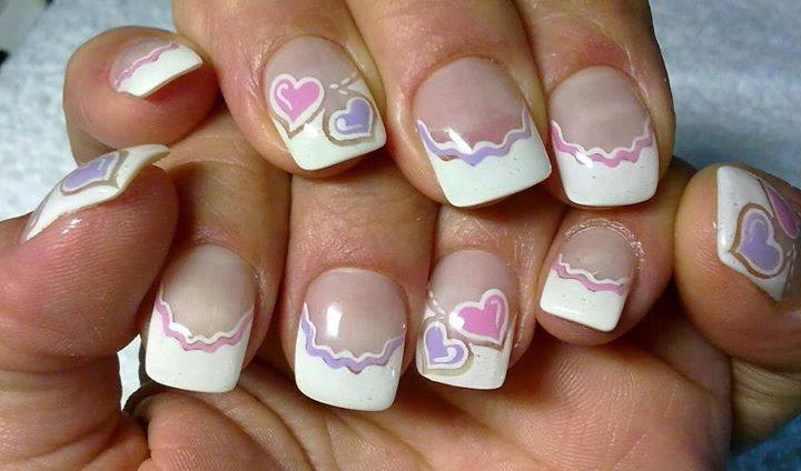 Purple And Pink Hearts With White Tip Short Nail Art - 50 Most Stylish Short Nail Art Design Ideas