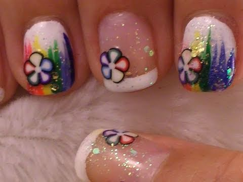 Rainbow With Fimo Slices Short Nail Art Tutorial Video