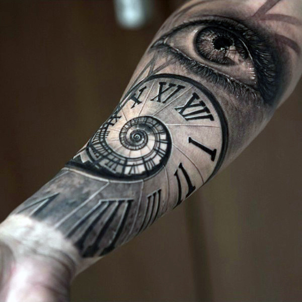 e4b1b77ed2c0b Realistic Roman Numeral Spiral With Eye Tattoo On Forearm