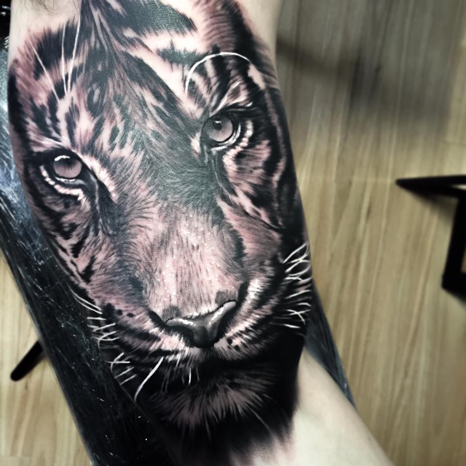 Realistic tiger tattoo on arm - photo#22