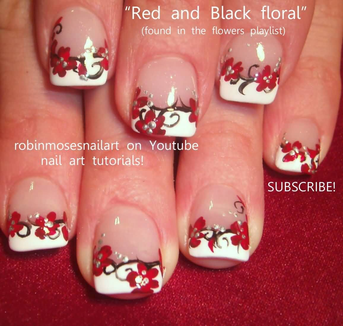 red and black floral nail art with white tip design idea