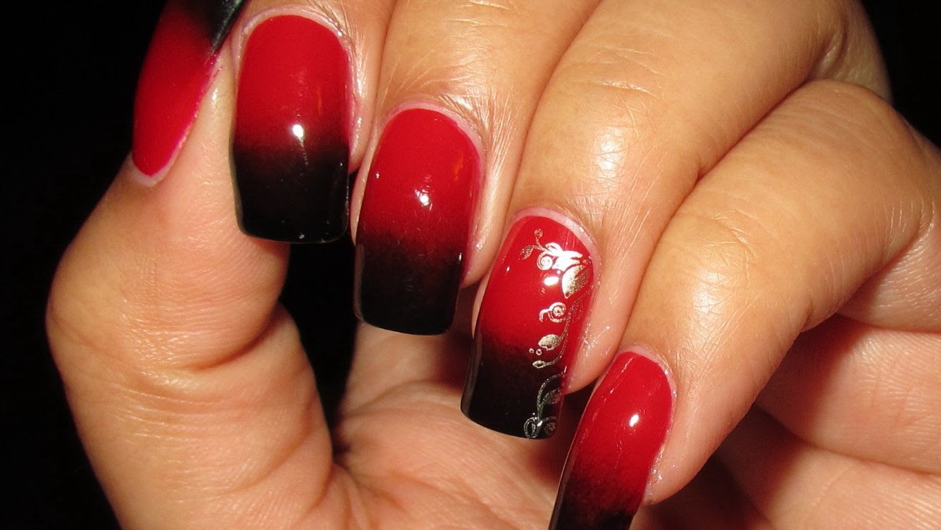 Red And Black Nails With Silver Stamping Nail Art