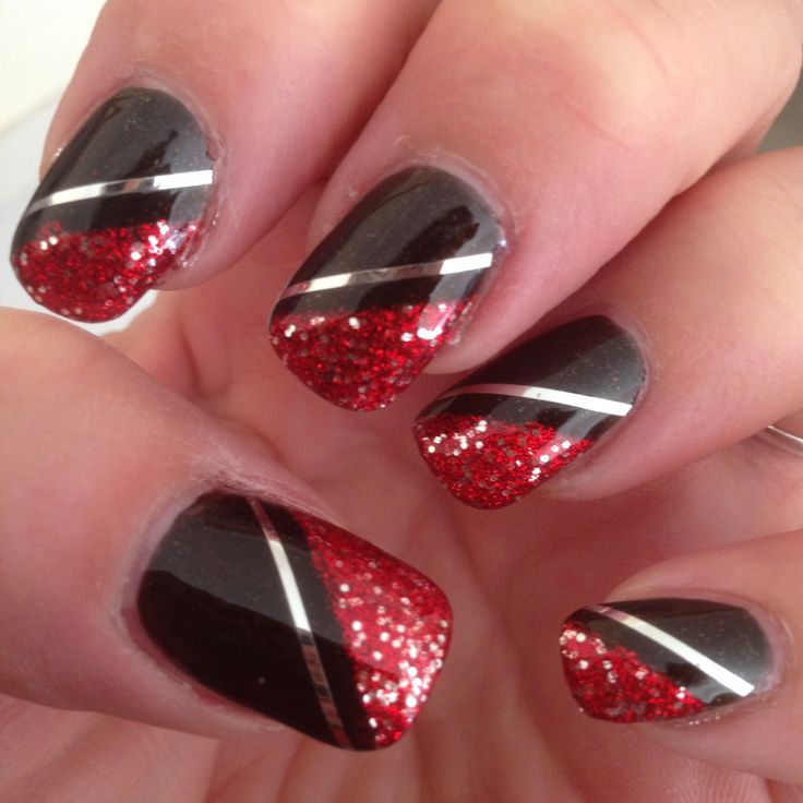 view images latest red and silver nail art design ideas - Nail Design Ideas