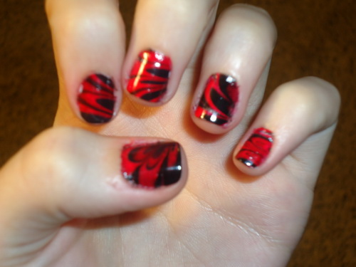 67 best red nail art design ideas red and black water marble nail art design idea prinsesfo Images