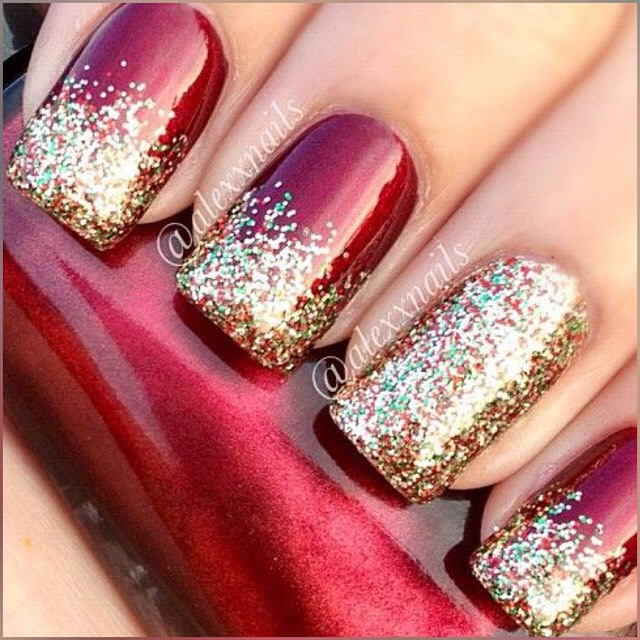 red and gold glitter christmas nail art - Red And Green Christmas Nails