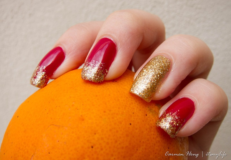 red and gold glitter nail art design