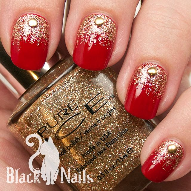 Red And Gold Glitter Nail Art With Caviar Beads Design Idea