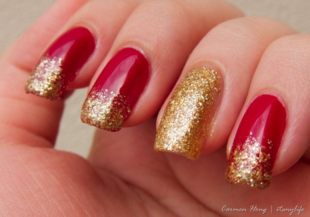Red And Gold Glitter Tip Nail Art - 52+ Red And Gold Nail Art Designs For Trendy Girls