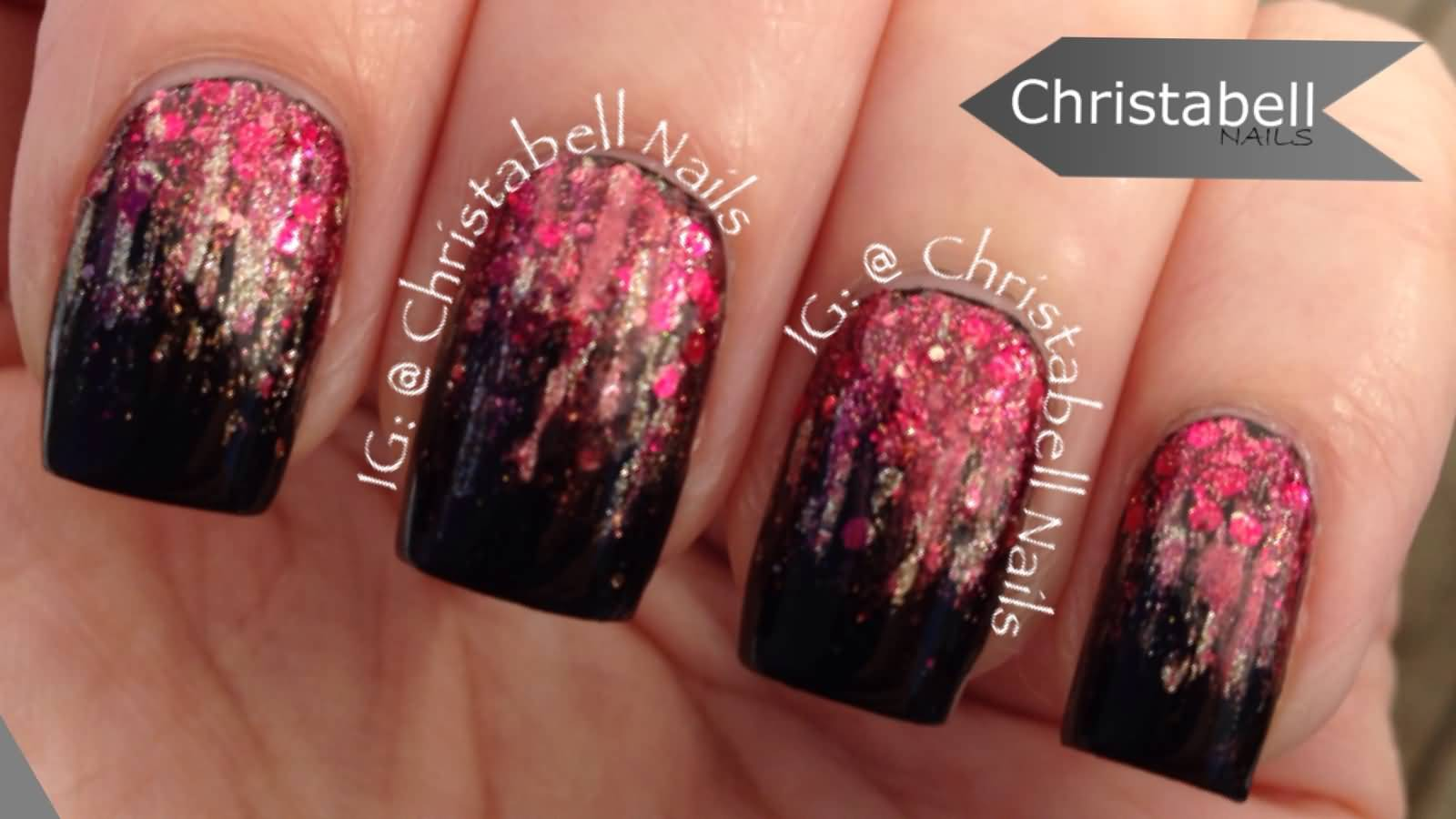Red And Gold Glitter With Black Gradient Nail Art Tutorial Video