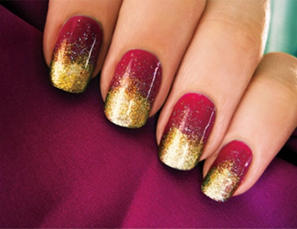 Red And Gold Gradient Nail Art - 52+ Red And Gold Nail Art Designs For Trendy Girls