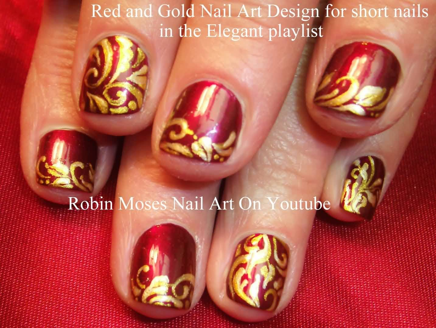 - Red And Gold Nail Art Design For Short Nails