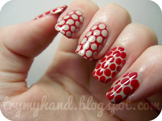 Red And Beige Polka Dots Nail Art
