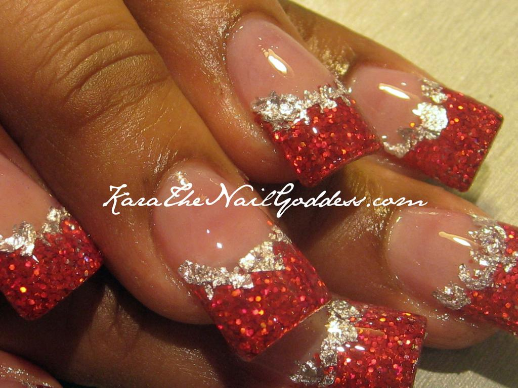 Red And Silver Glitter Gel Tip Nail Art - 40+ Latest Red And Silver Nail Art Design Ideas