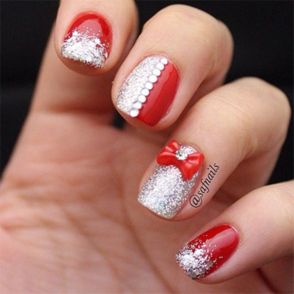 - Red And Silver Glitter Nail Art With 3D Bow Design Idea