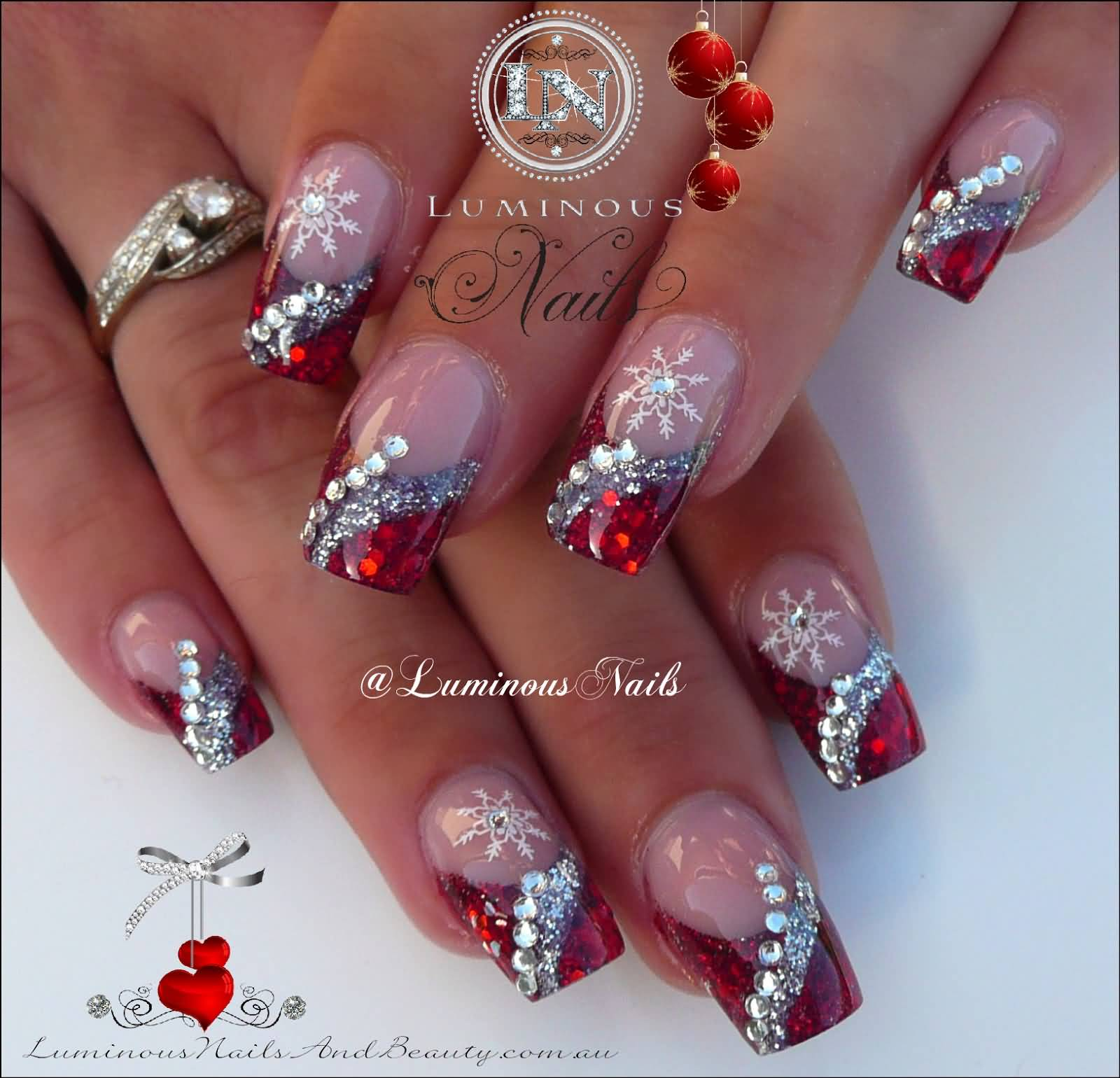 Nail Art Red And Silver Glitter  Nails Art Ideas