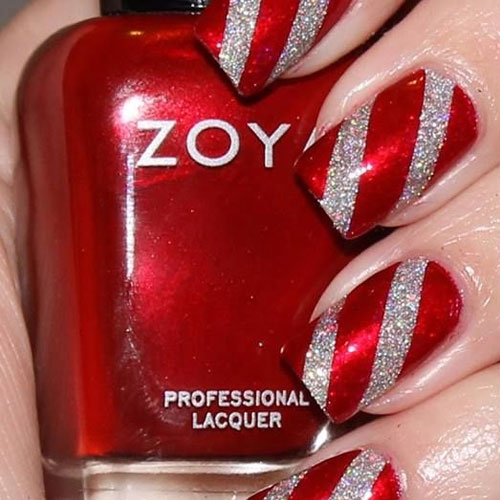 Red And Silver Glitter Stripes Christmas Nail Art