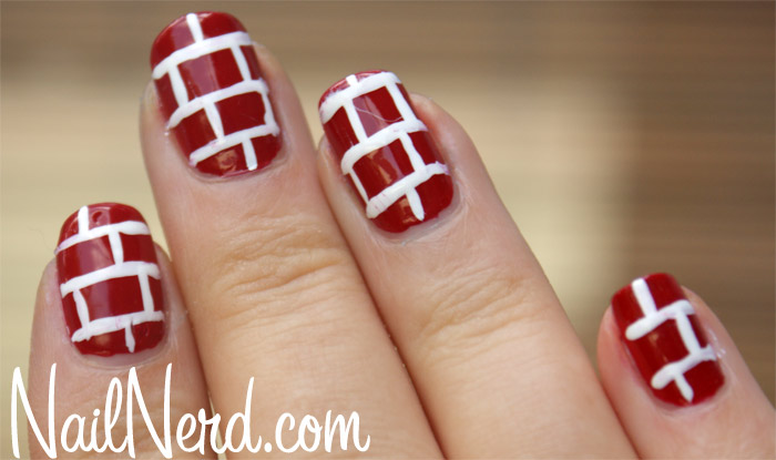 52 incredible red nail art design pictures red and white bricks design nail art prinsesfo Images